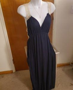 Sexy Navy Blue Maxi Dress w/ Crochet Back